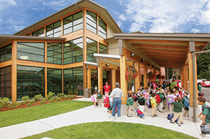 Glulam used at Milgard Lower School at Charles Wright Academy