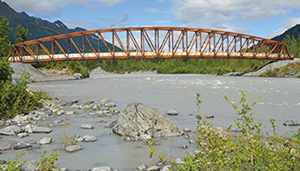 Glulam used in Placer River Pedestrian Bridge