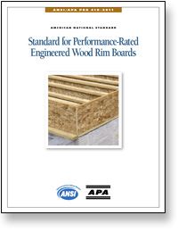 ANSI/APA PRR 410: Standard for Performance Rated Engineered Wood Rim Boards