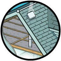 Vent in roof for attic