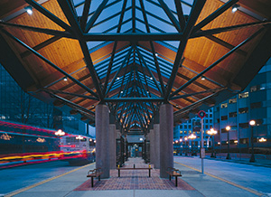 Glulam used in Bellevue bus terminal