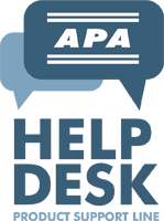 Contact the APA help desk for product support