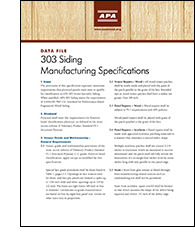 Data File: 303 Siding Manufacturing Specifications