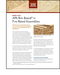 Data File: APA Rim Board in Fire Rated Assemblies